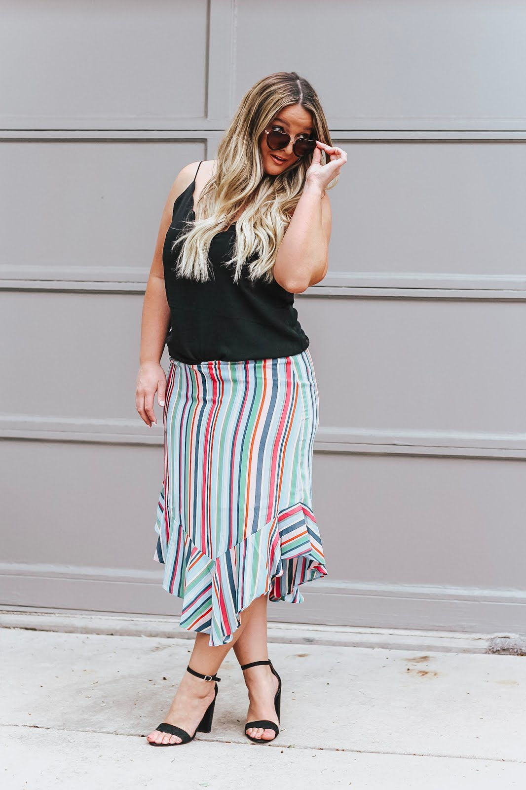 rainbow skirt featured by popular Colorado fashion blogger, Delayna Denaye