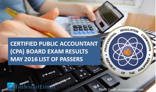 List of Passers: May 2016 CPA board exam results