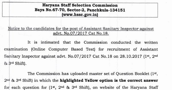HSSC Assistant Sanitary Inspector Answer Key Download