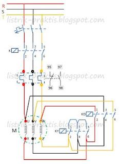 Diagram daya pengasutan motor star-delta