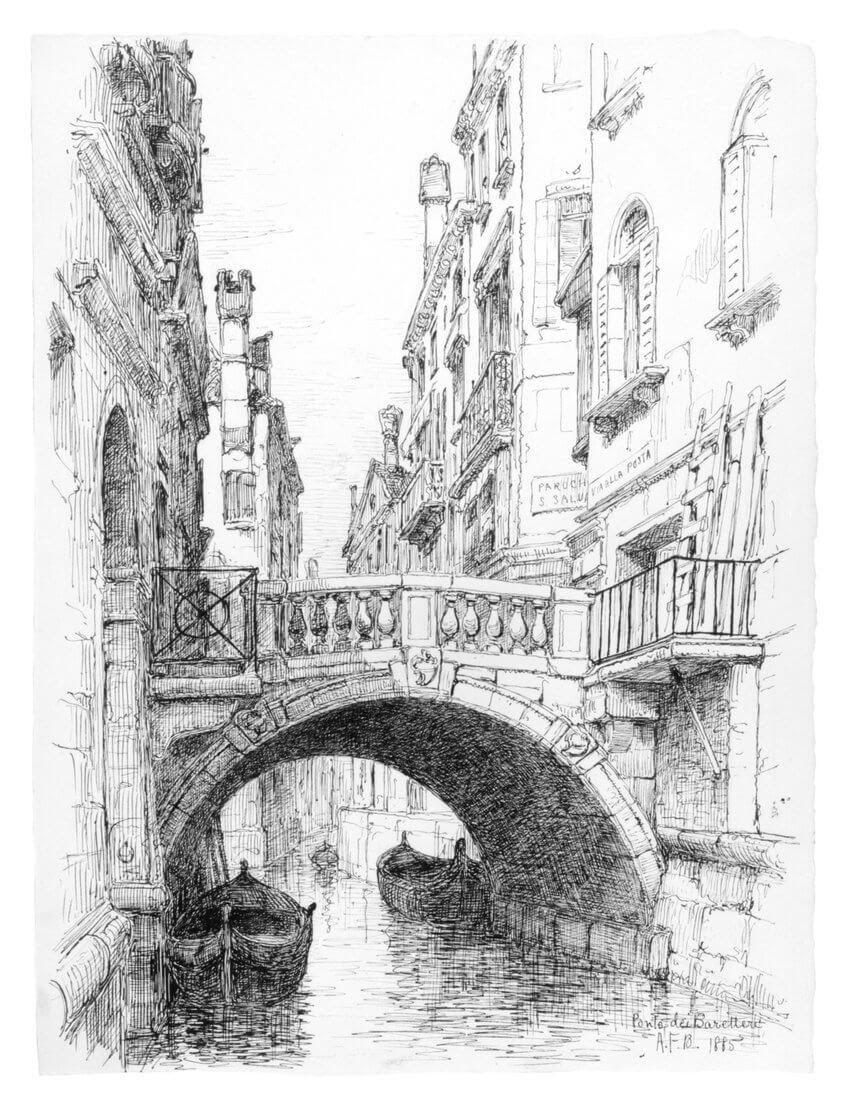 07-Ponte-dei-Baretteri-1885-Andrew-F-Bunner-Venice-Urban-Architectural-Drawings-from-the-1800s-www-designstack-co
