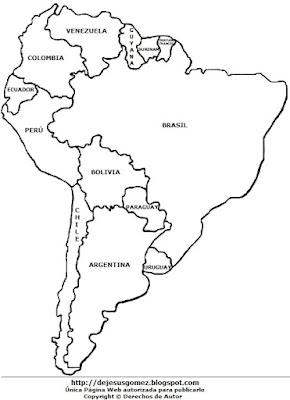 Dibujo de América del Sur con sus respectivos nombres para niños para colorear. Dibujo de mapa de Jesus Gómez