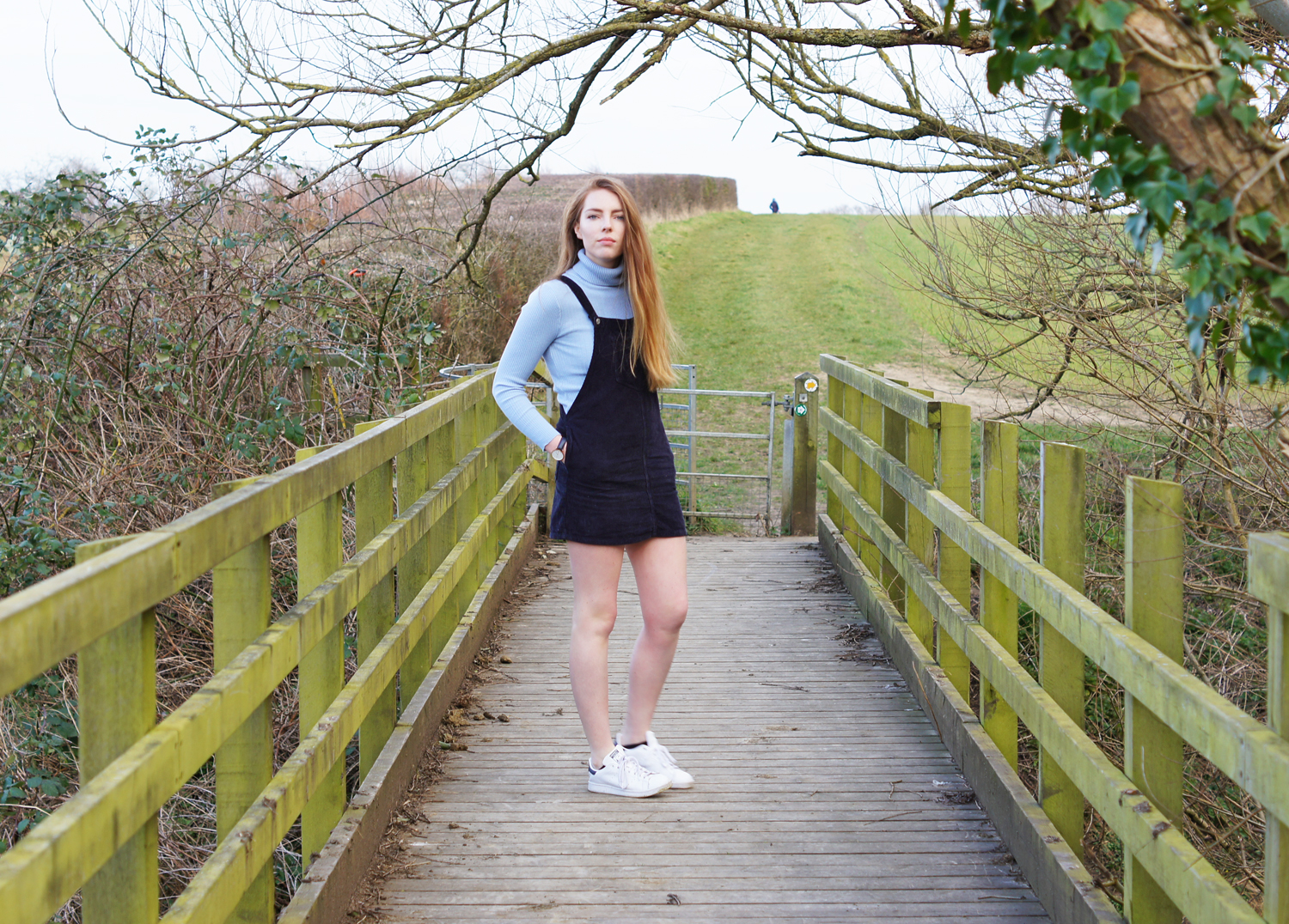 roll neck and dungaree dress topshop