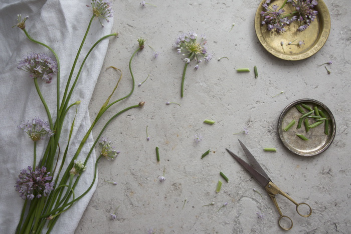 Use flowering garlic chives to make compound butter