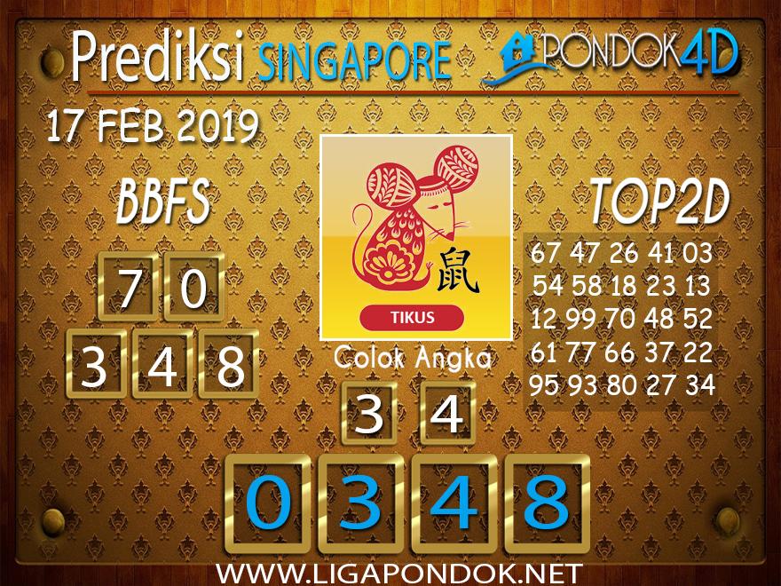 Prediksi Togel SINGAPORE PONDOK4D 17 FEBRUARI 2019