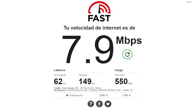 vedir velocidad con fast.com