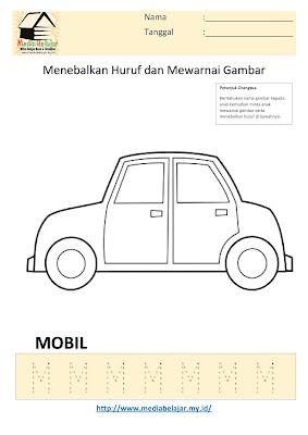 Lembar Kerja Paud Menebalkan Huruf M dan Mewarnai Gambar Mobil