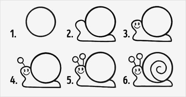 Learn to draw a snail  for kids