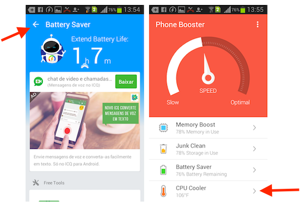 Acessando o recurso CPU Cooler do Super Booster Clean Boost para Android