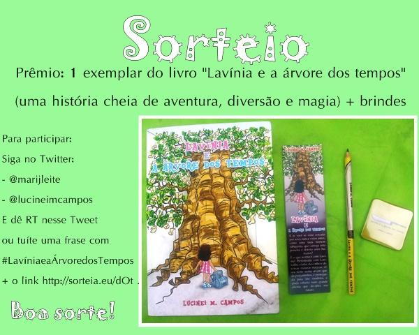 Sorteio, Twitter, livro, Lavínia e a Árvore dos Tempos, Lucinei M. Campos, brindes, fantasia, literatura-nacional, folclore