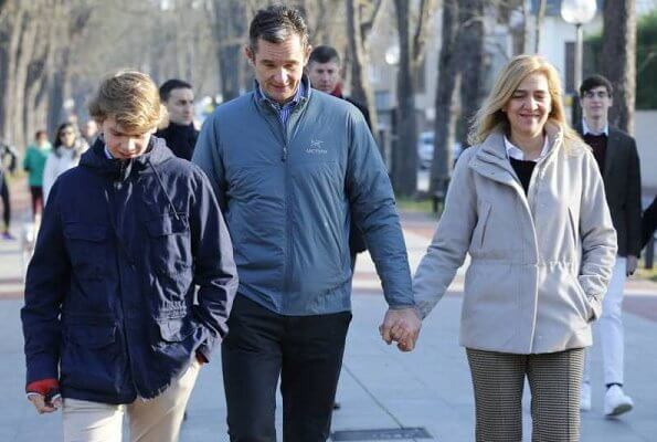 Infanta Cristina, Inaki Urdangarin and their children Irene, Pablo, Miguel and Juan attended Christmas Day Service