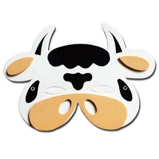 Máscara careta de Vaca en Goma eva con moldes gratis