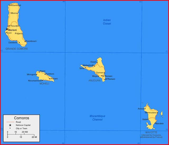 Gambar Peta Kepulauan Komoro