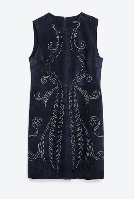 Vestido ante detalles metálicos Zara SS 2016 clon de Valentino