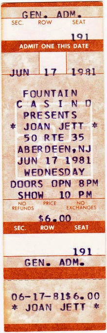 Joan Jett ticket for The Fountain Casino June 17, 1981