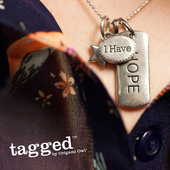 I Have Hope Tagged Necklace by Origami Owl from StoriedCharms.com