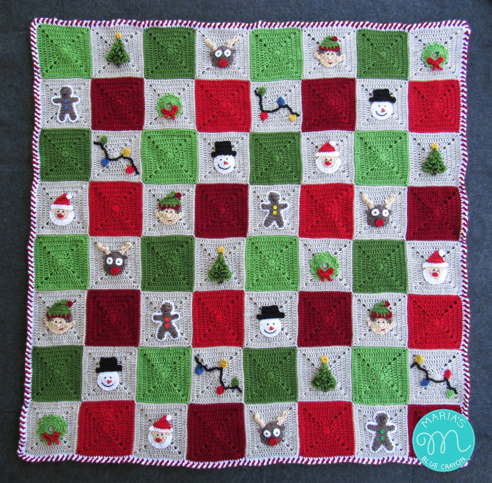 Christmas Granny Square Blanket Free Crochet Pattern Marias