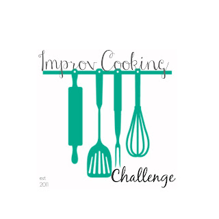 improv cooking challenge logo (aqua rolling pin, spatula, fork, whisk suspended from rack)