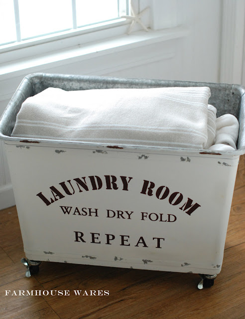farmhouse musings vintage style laundry cart. Black Bedroom Furniture Sets. Home Design Ideas