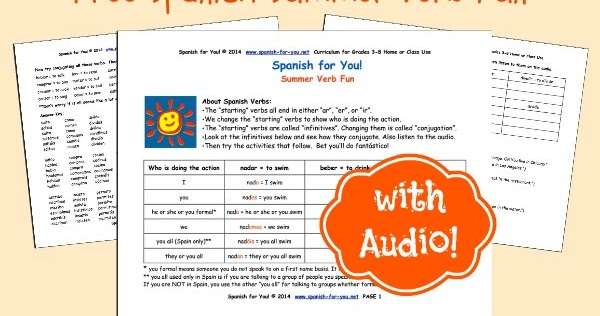 Mommy Maestra: Free Spanish Summer Verb Fun Printables with Audio