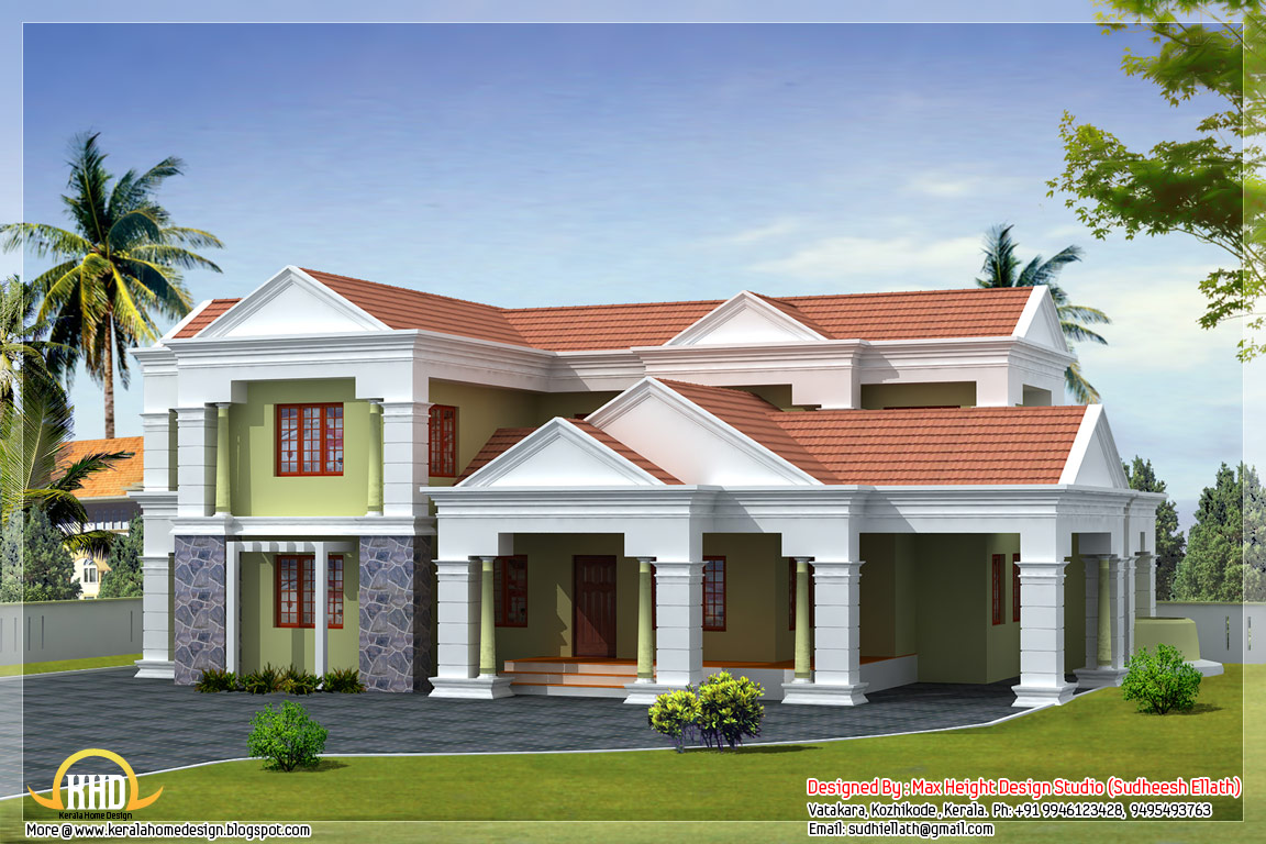 3 different indian house elevations kerala home design for Indian house outlook design