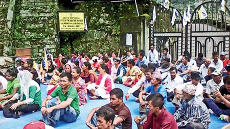 JAP dharna at PWD office Kalijhora for NH 10