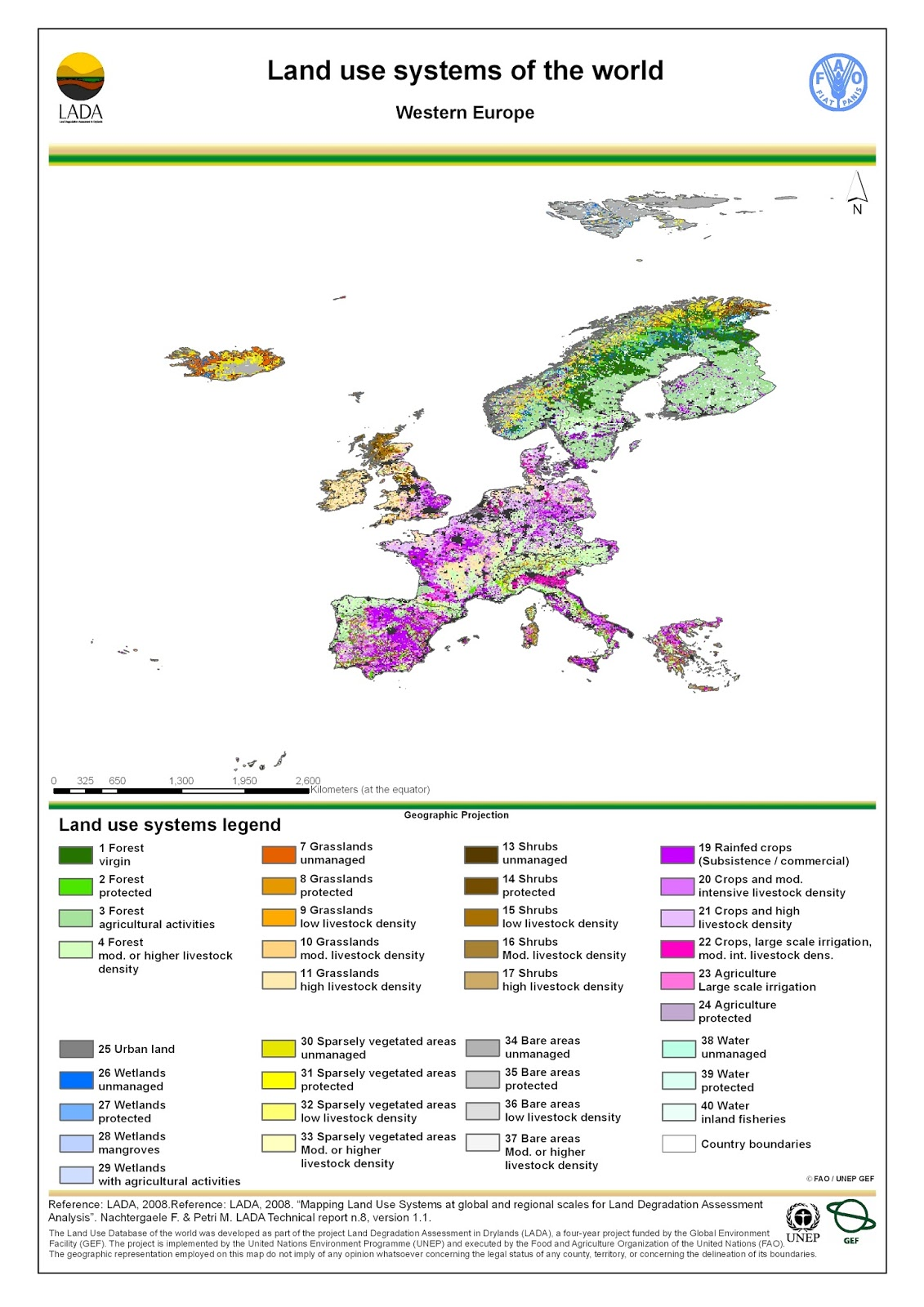 Western Europe: Land use map