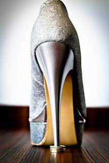 high heel shoe with wedding ring