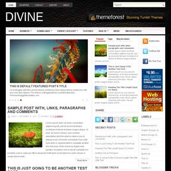 Divine blog template. magazine blogger template style. magazine style template blogspot. 3 column blogspot template