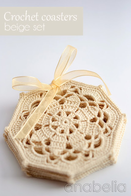 Crochet coasters beige set by Anabelia
