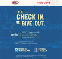 Kraft Five Guys foursquare mobile check-in donation