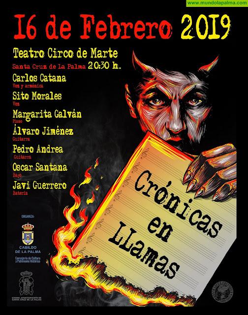 El espectáculo musical de poesía y rock 'Crónicas en llamas' se presenta este sábado en el Teatro Circo de Marte