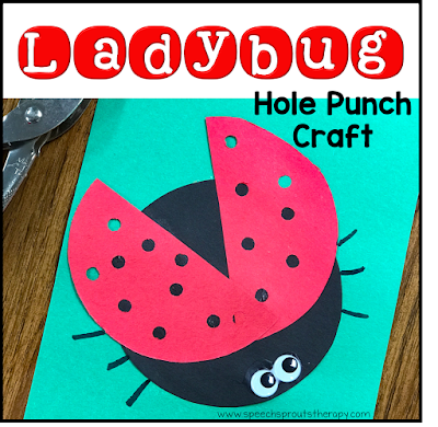 This cute ladybug craft is made with one black construction paper circle, and one red circle cut in half for the wings. The wings are punched with a hole punch for the spots. It's adorable with wiggle eyes and pasted on a green paper background. Read the post for ladybug storybook and song ideas too! www.speechsproutstherapy.com