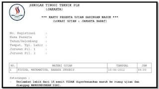 Kartu Ujian PMB STT PLN
