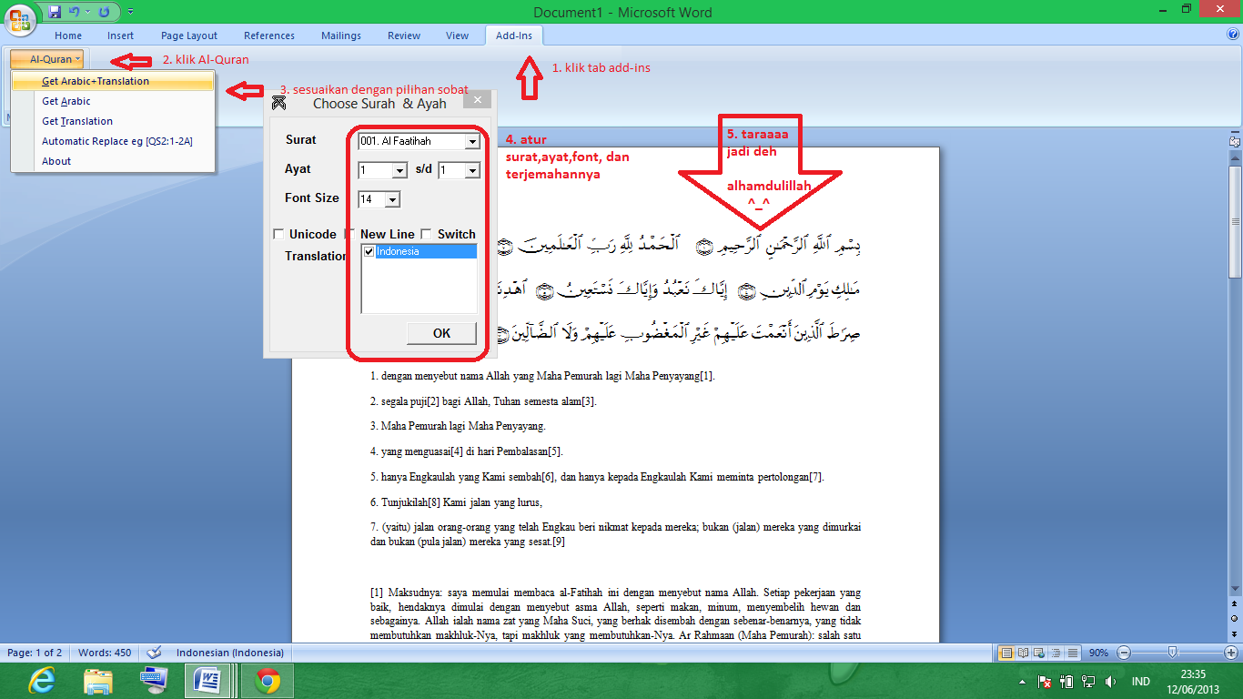 Download Plugin AlQuran untuk Ms-Word