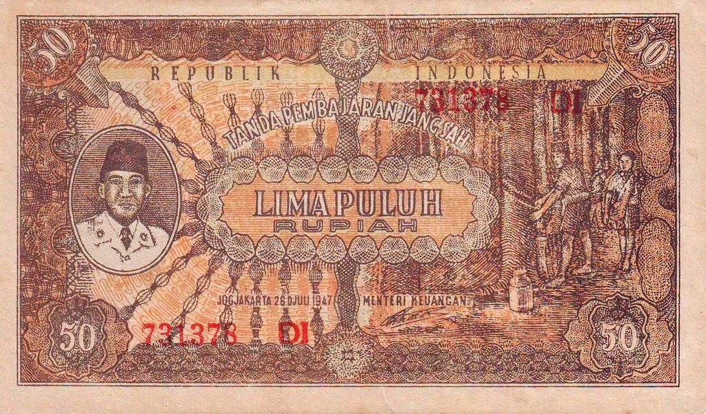 50 Rupiah Tahun 1947 - Depan