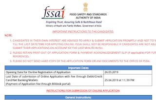 FSSAI Recruitment 2019 - Application begin for 275 posts