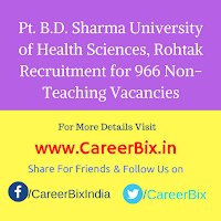 Pt. B.D. Sharma University of Health Sciences, Rohtak Recruitment for 966 Non-Teaching Vacancies