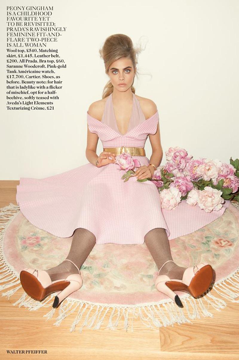 hunting in heels pretty in pink cara delevingne british vogue september 2013. Black Bedroom Furniture Sets. Home Design Ideas
