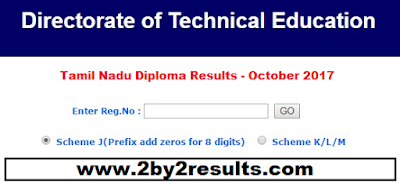 Tamil Nadu Diploma Results October 2017 Declared -  intradote.tn.nic.in