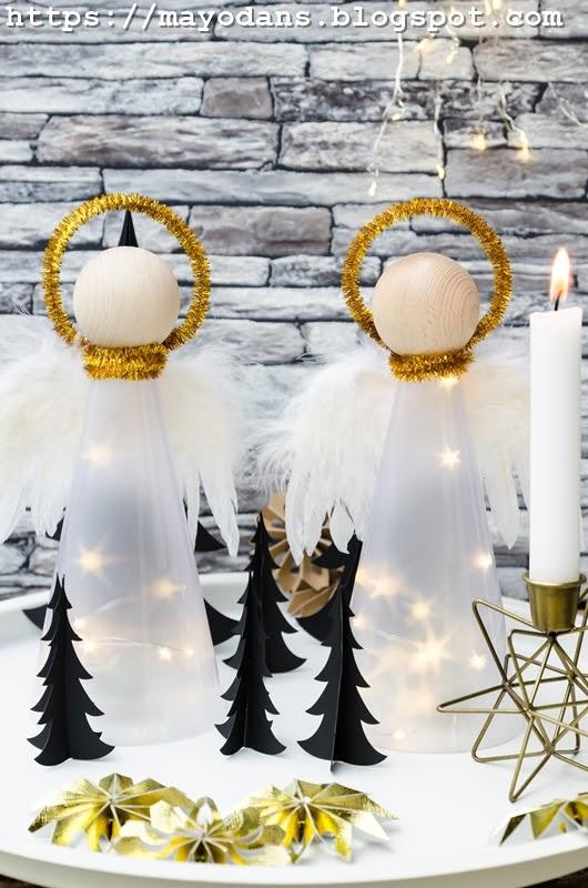 diy beleuchtete weihnachtsengel aus sternenfolie. Black Bedroom Furniture Sets. Home Design Ideas