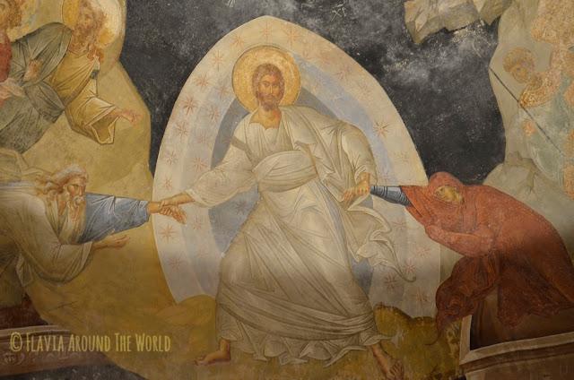 Detalle de un fresco de la iglesia de Cora