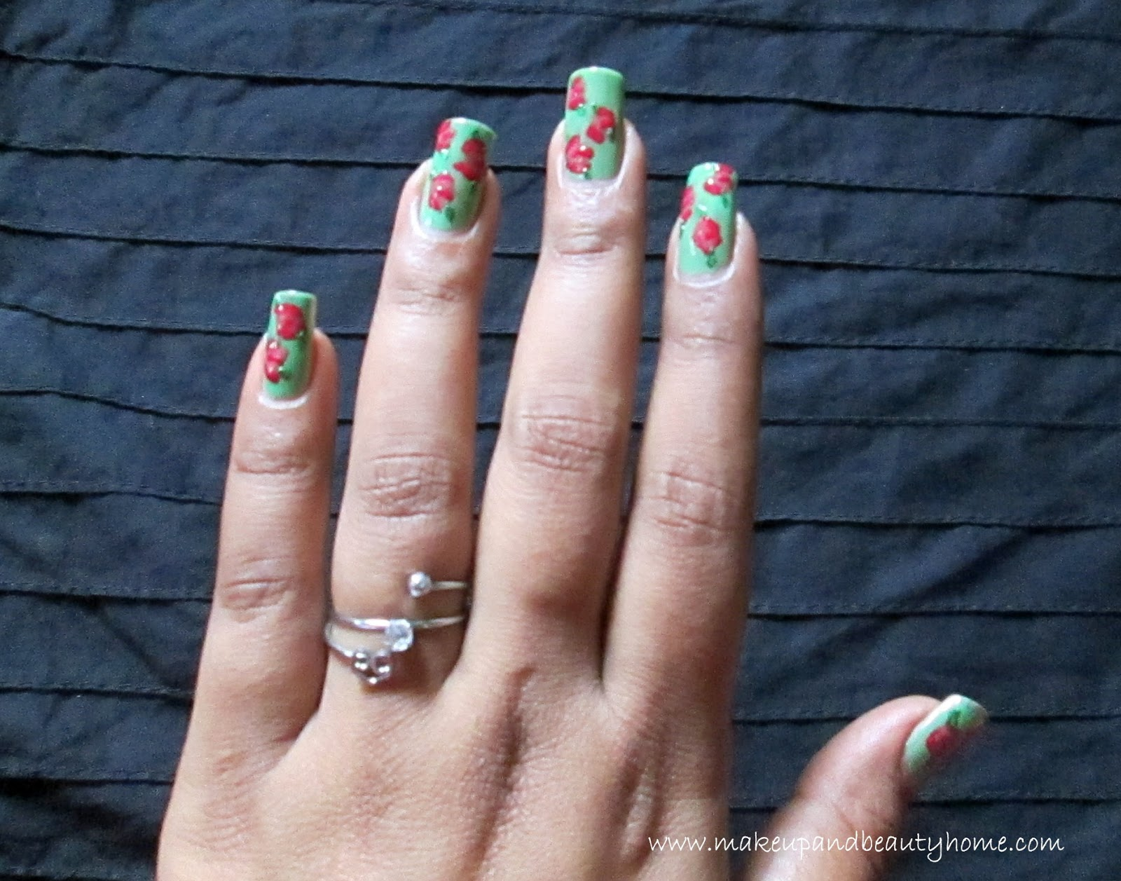 Vintage rose print nail art tutorial do it yourself - Nail designs do it yourself at home ...