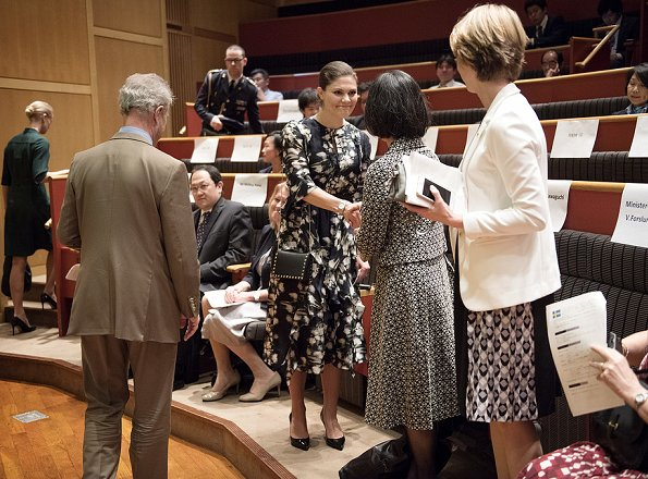 Crown Princess Victoria wore H&M Patterned Silk Dress from Conscious Exclusive Collection, Prada pumps and carried Valentino Garavani Clutch