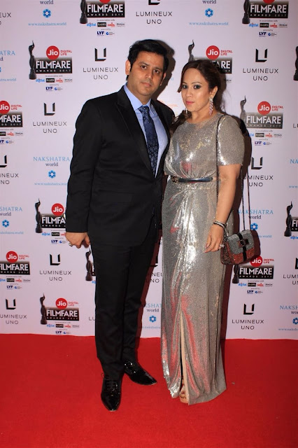 Ajay Kapoor, managing director in Rajesh Wadhawan Group's along with his wife Ekta Ajay Kapoor attended Jio Filmfare Awards 2017