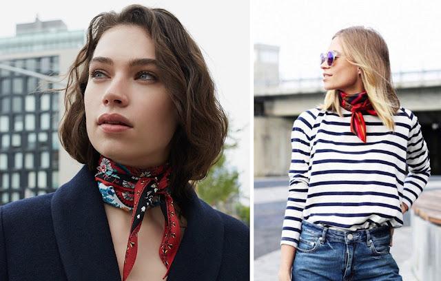 Девушки с платком, завязанным французским узлом