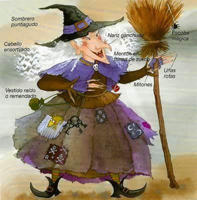 Imagen de bruja mala, fea y vieja