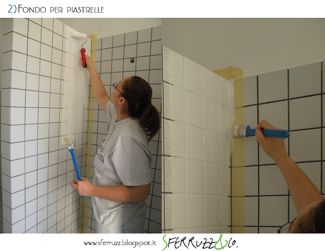 Sferruzz co t g house il bagno blu makeover parte 2 - Smalto piastrelle leroy merlin ...