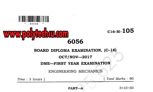 ENGINEERING MECHANICS QUESTION PAPERS C-16 DME