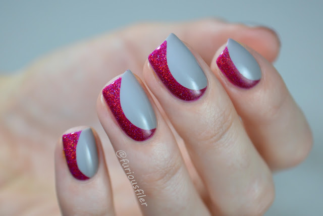 holographic side french half moon geometric nail art